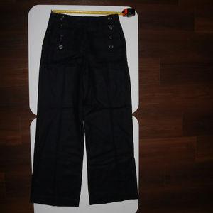 """ANN TAYLOR """"8 Button"""" Wide Leg Black Pants"""